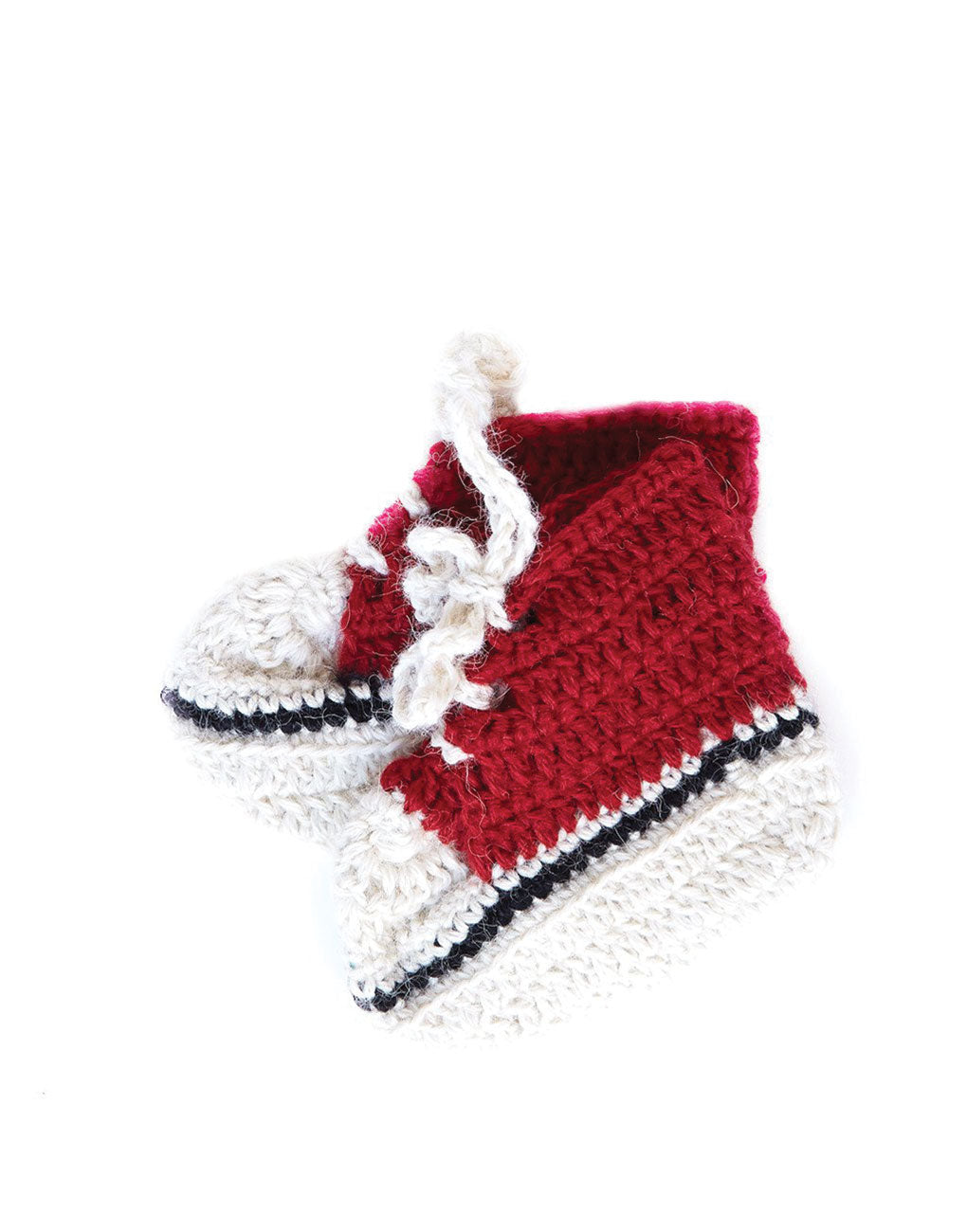 Red Alpaca Knit Baby Sneakers | The Little Market