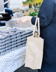 Large Grocery List Purposefull Shopping Tote In Black Font Being Modeled | The Little Market