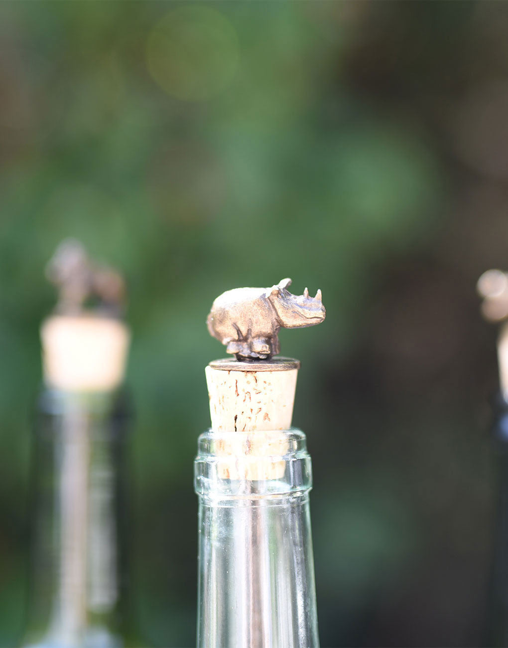 Fair Trade Zinc and Brass Rhino Cork Wine Bottle Stopper