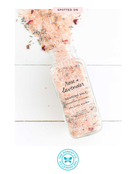 Rose And Lavender Scented Soaking Salt Spilled Featured On The Honest Co. | The Little Market