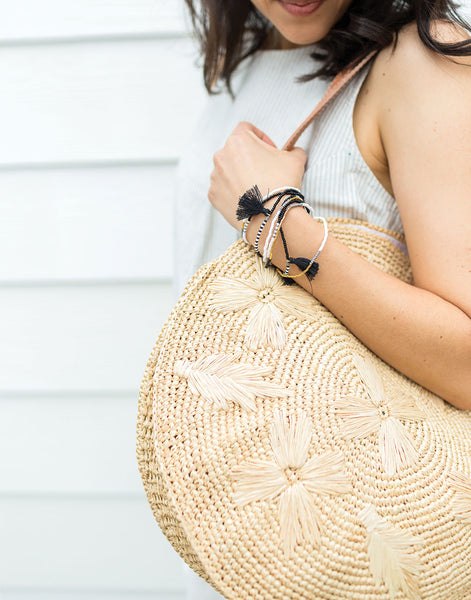 Round Floral Embroidered Tote In Natural With Leather Straps | The Little Market