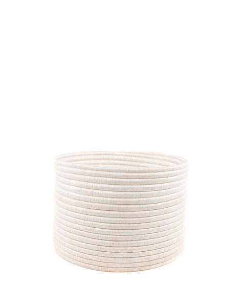 Round Knitting Basket - White