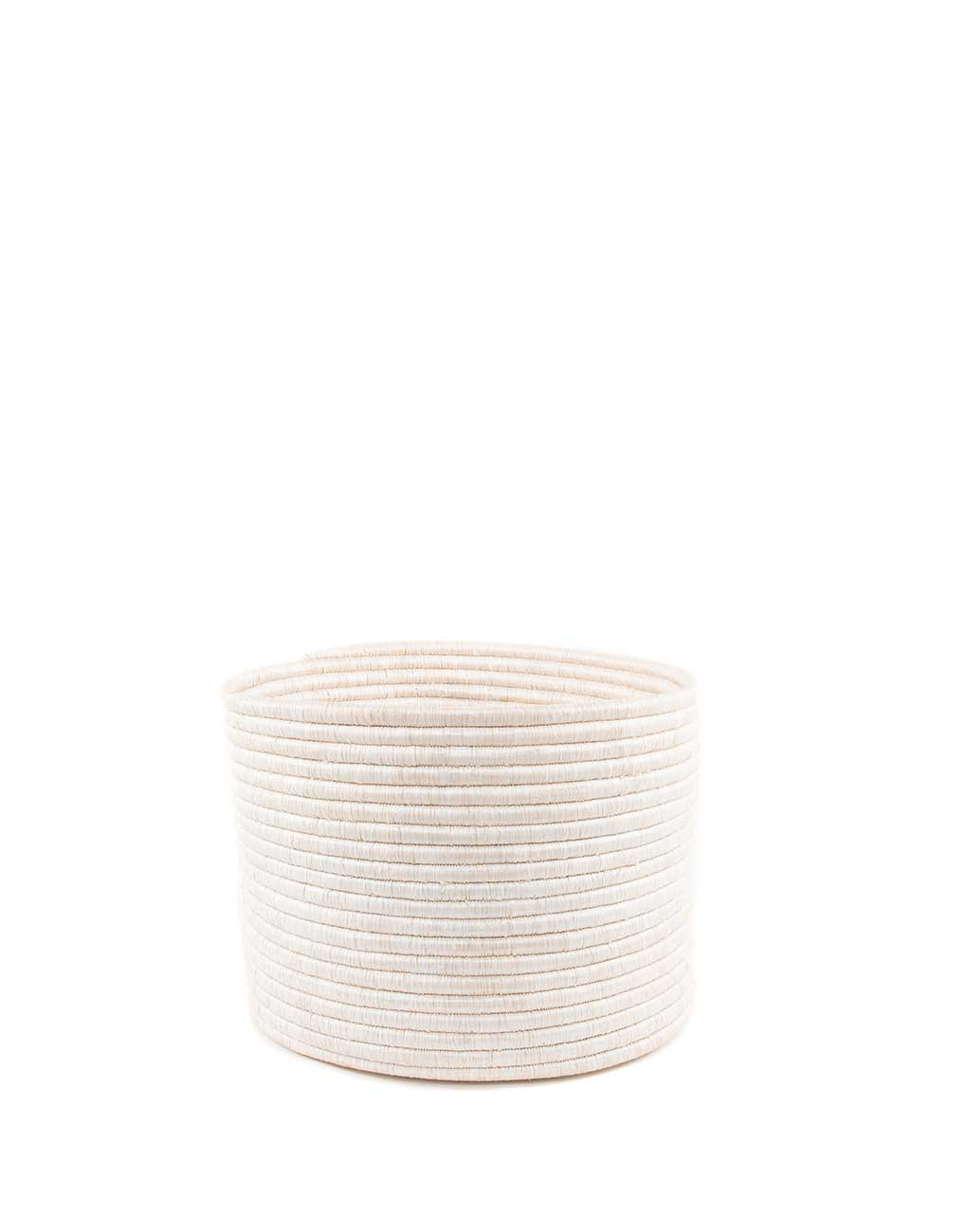 Medium White Round Knitting Basket | The Little Market