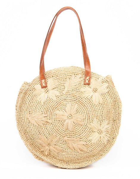 Round Floral Tote - Natural