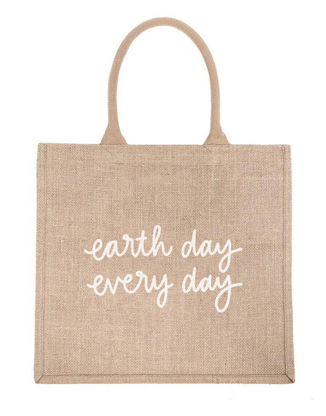 Large Earth Day Every Day Reusable Shopping Tote In White Font | The Little Market