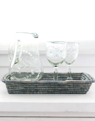 Fair Trade Clear Hand-Etched Recycled Glass Pitcher