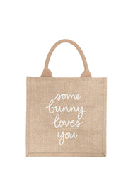 Large Some Bunny Loves You Reusable Gift Tote In White Font | The Little Market