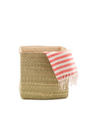 "10"" Inch Square Iringa Basket In Natural With Dish Towel 