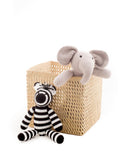 "8"" Inch Square Open Weave Iringa Basket In Natural With Elephant Inside And Zebra 
