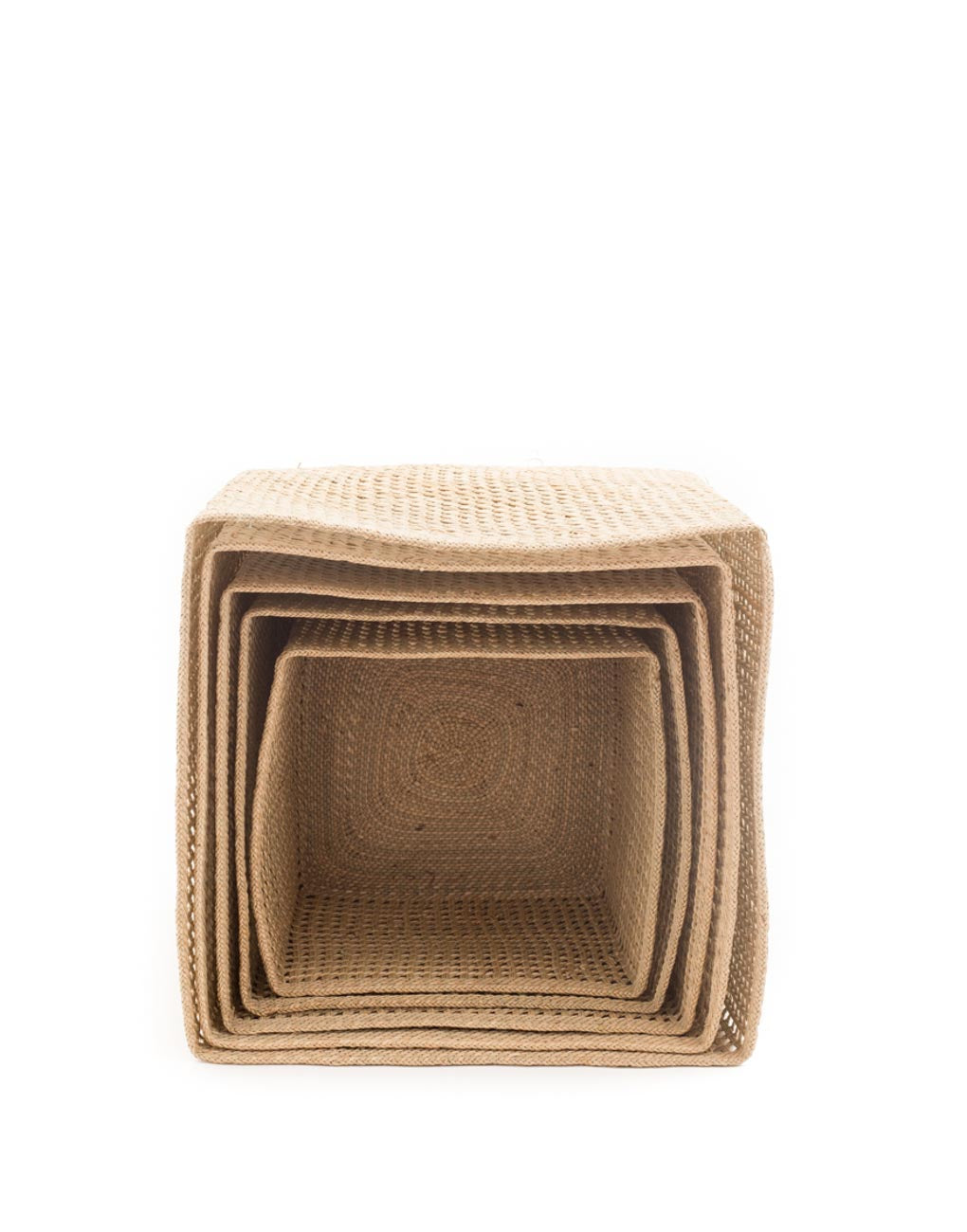 Nesting Square Open Weave Iringa Basket In Natural Front View | The Little Market