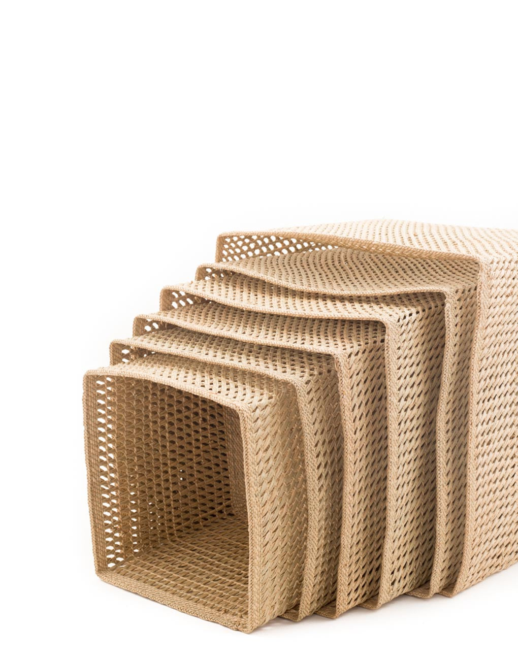 Nesting Square Open Weave Iringa Basket In Natural Side View Close Up | The Little Market