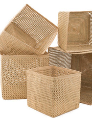 Variant Size Square Open Weave Iringa Baskets In Natural | The Little Market