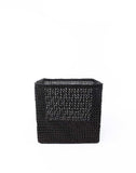"9"" Inch Square Open Weave Iringa Basket In Black 
