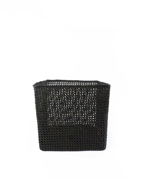 "11"" Inch Square Open Weave Iringa Basket In Black 