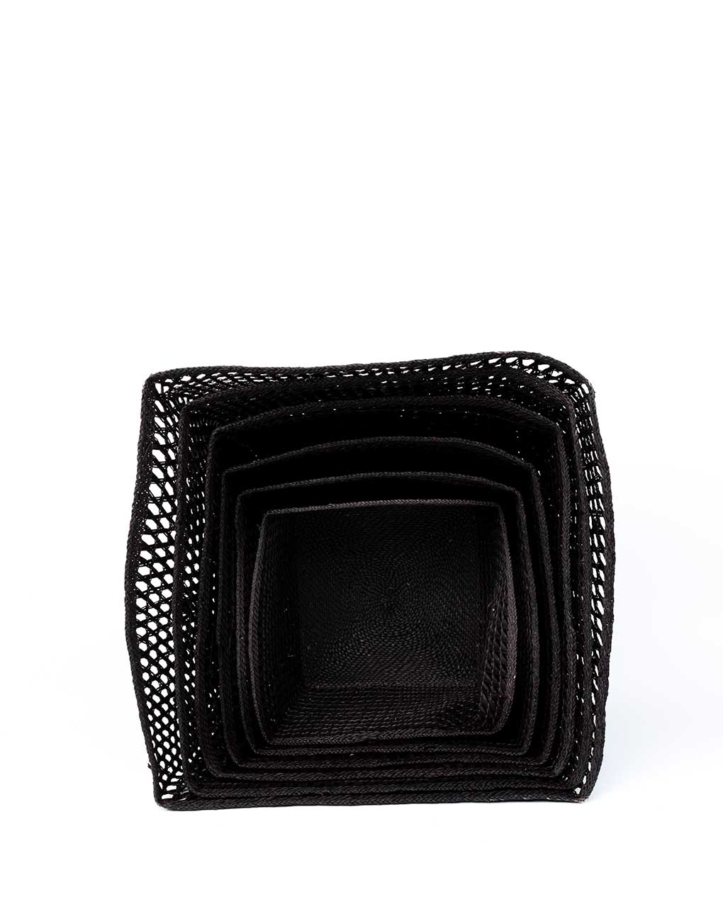 Nesting Square Open Weave Iringa Basket In Black Front View | The Little Market