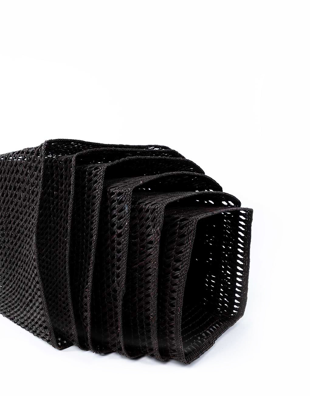 Nesting Square Open Weave Iringa Basket In Black Side View Close Up | The Little Market