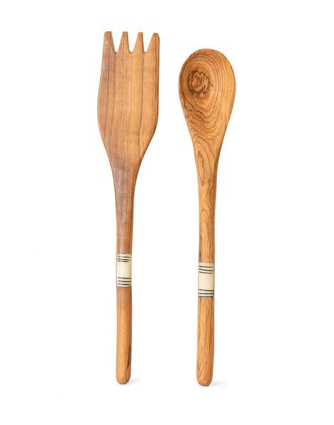 Striped Bone and Wood Salad Servers | The Little Market
