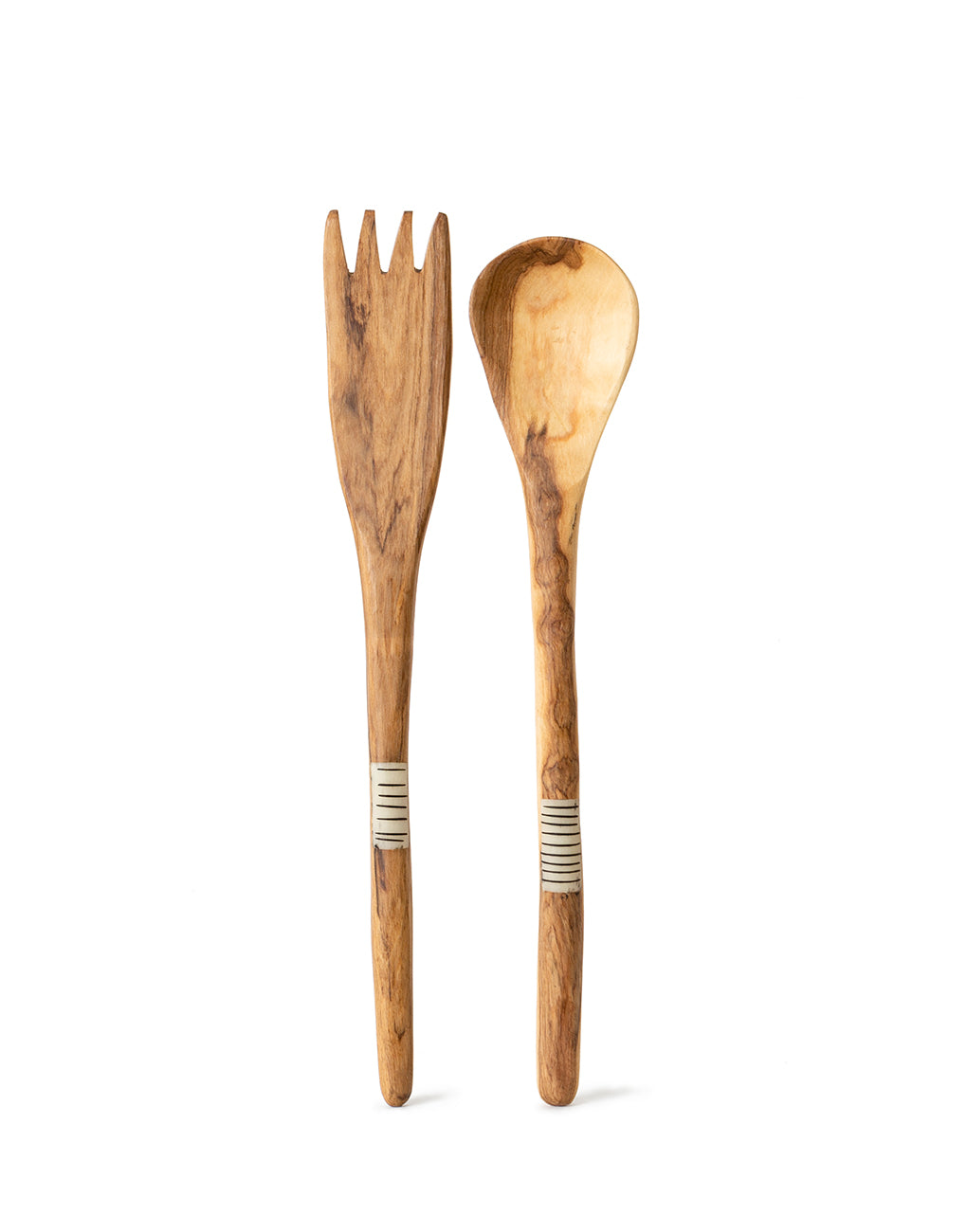 Striped Bone And Wood Fork And Spoon | The Little Market