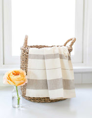 Fair Trade Striped Gray Hand Towel