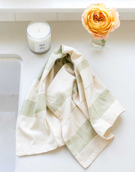 Fair Trade Striped Green Hand Towel