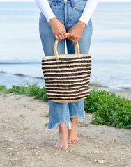 Fair Trade, Artisan Made, Striped Tote, Black & Natural