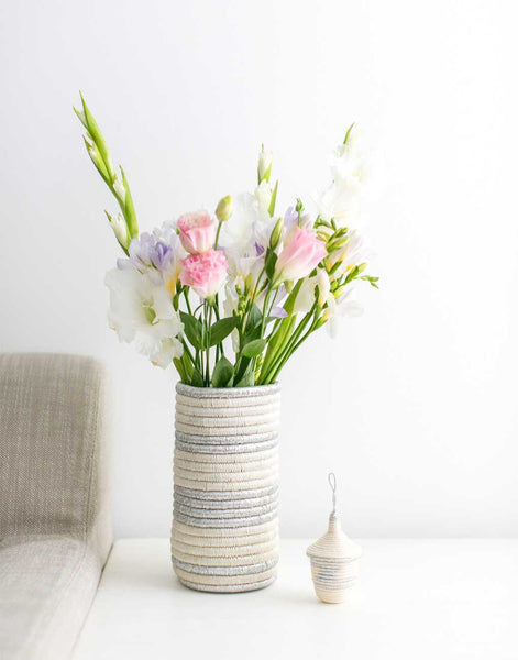 Fair Trade Handwoven Silver Vase