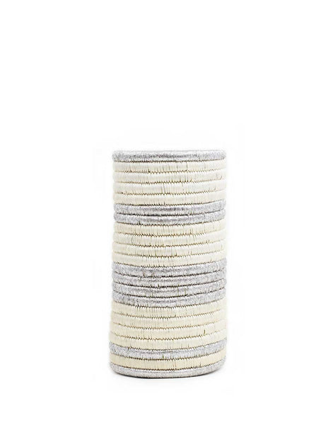 Striped Woven Vase - Silver