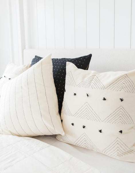 Two White Pillows and Black Cross Stitch Pillow | The Little Market
