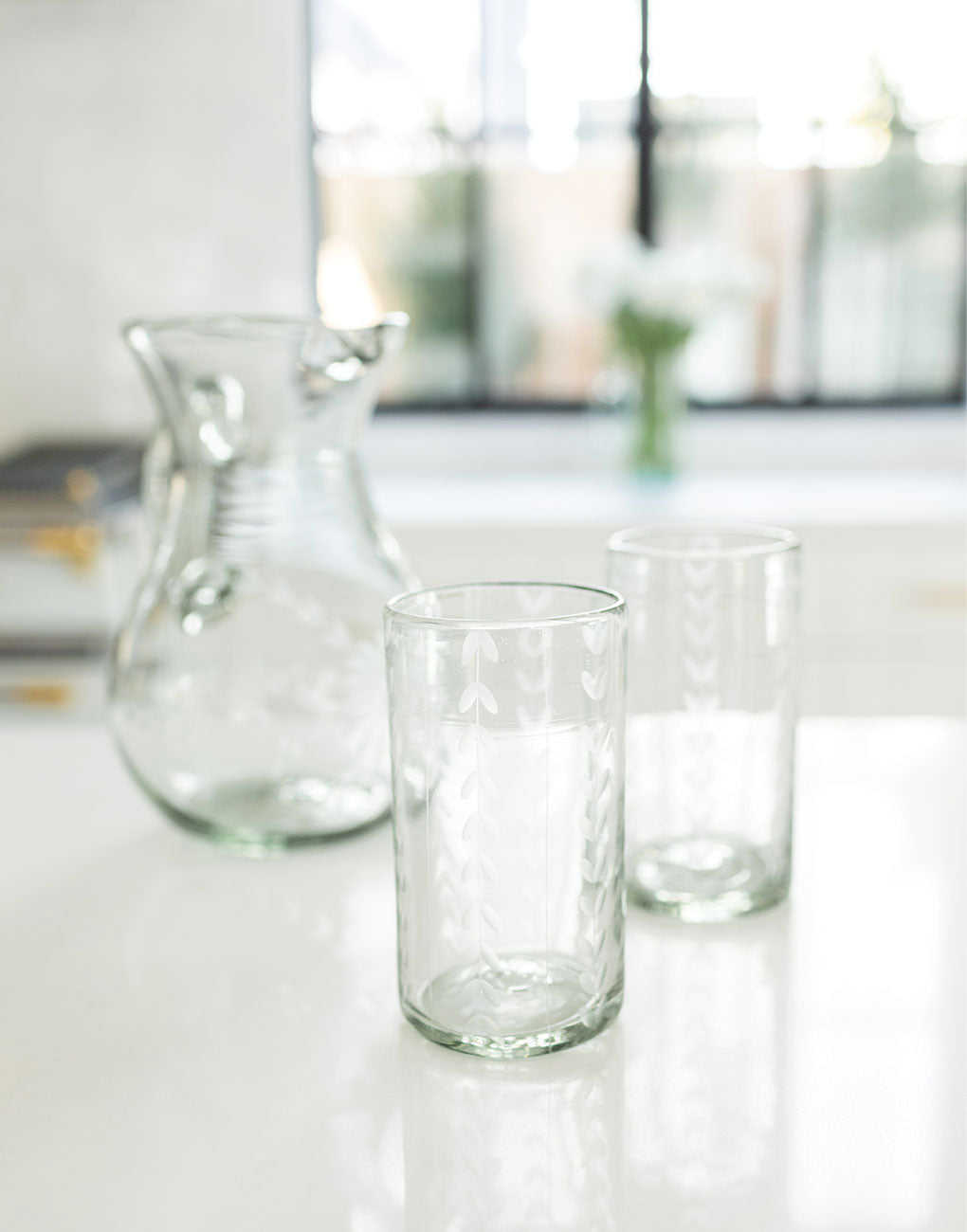 Clear Tall Leaves Glass | The Little Market