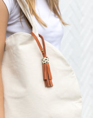 Tan Leather Tassel Keychain | The Little Market