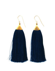 Fair Trade, Handmade Fringe Earrings, Navy