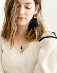 Fair Trade, Handmade Fringe Earrings, Black
