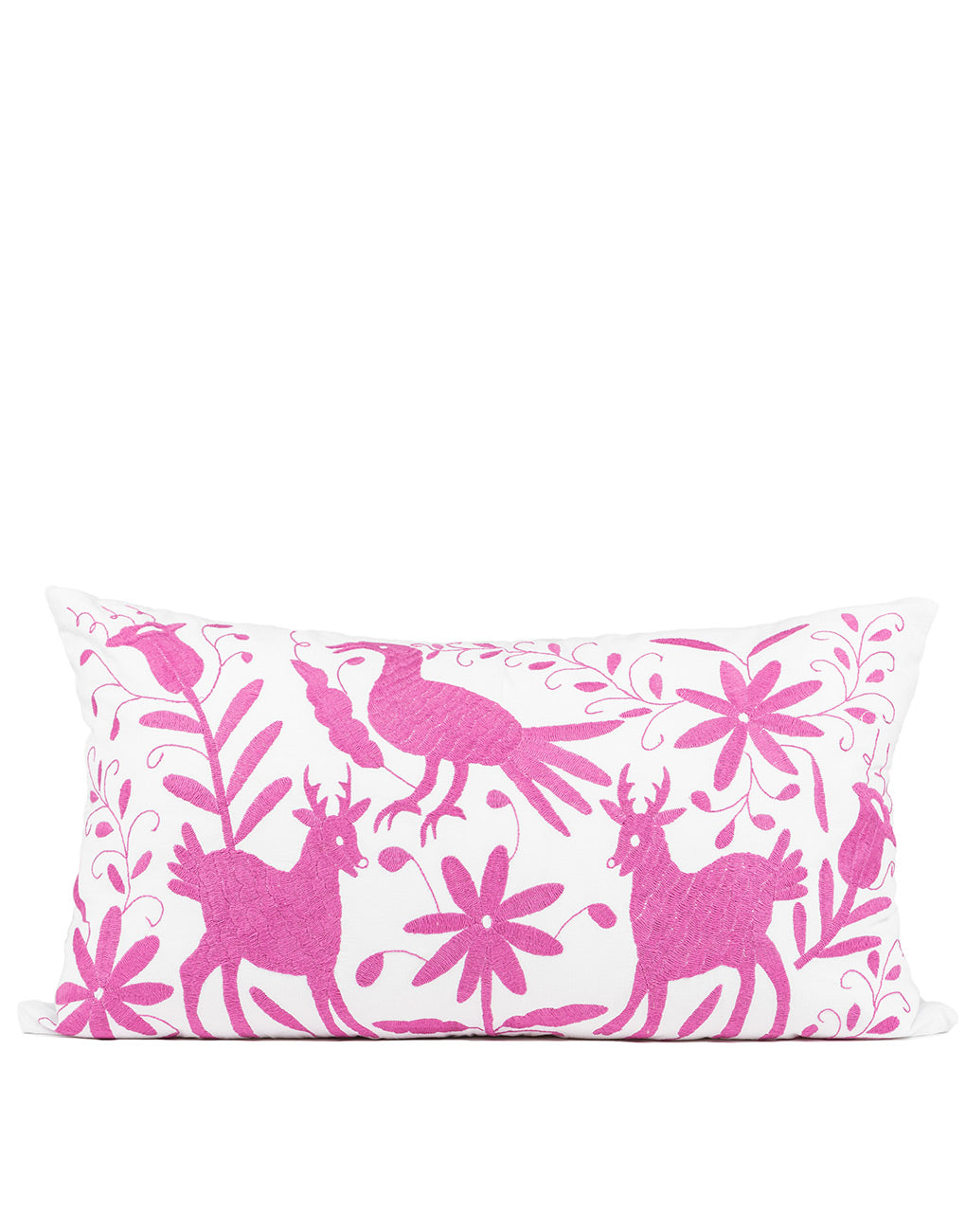 Tenango Embroidered Pillow Cover - Magenta