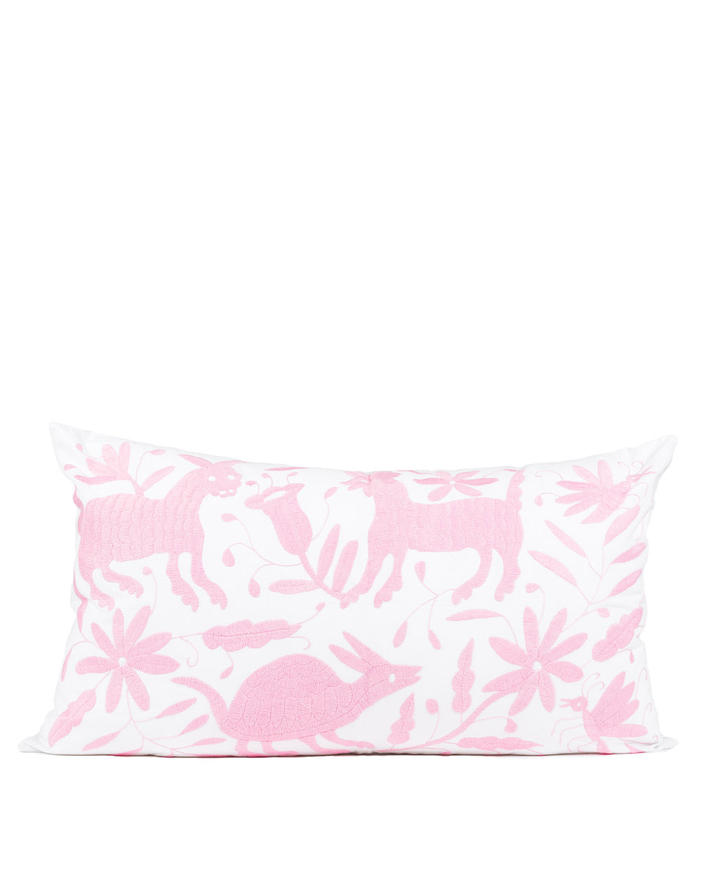 Tenango Embroidered Pillow Cover - Pink