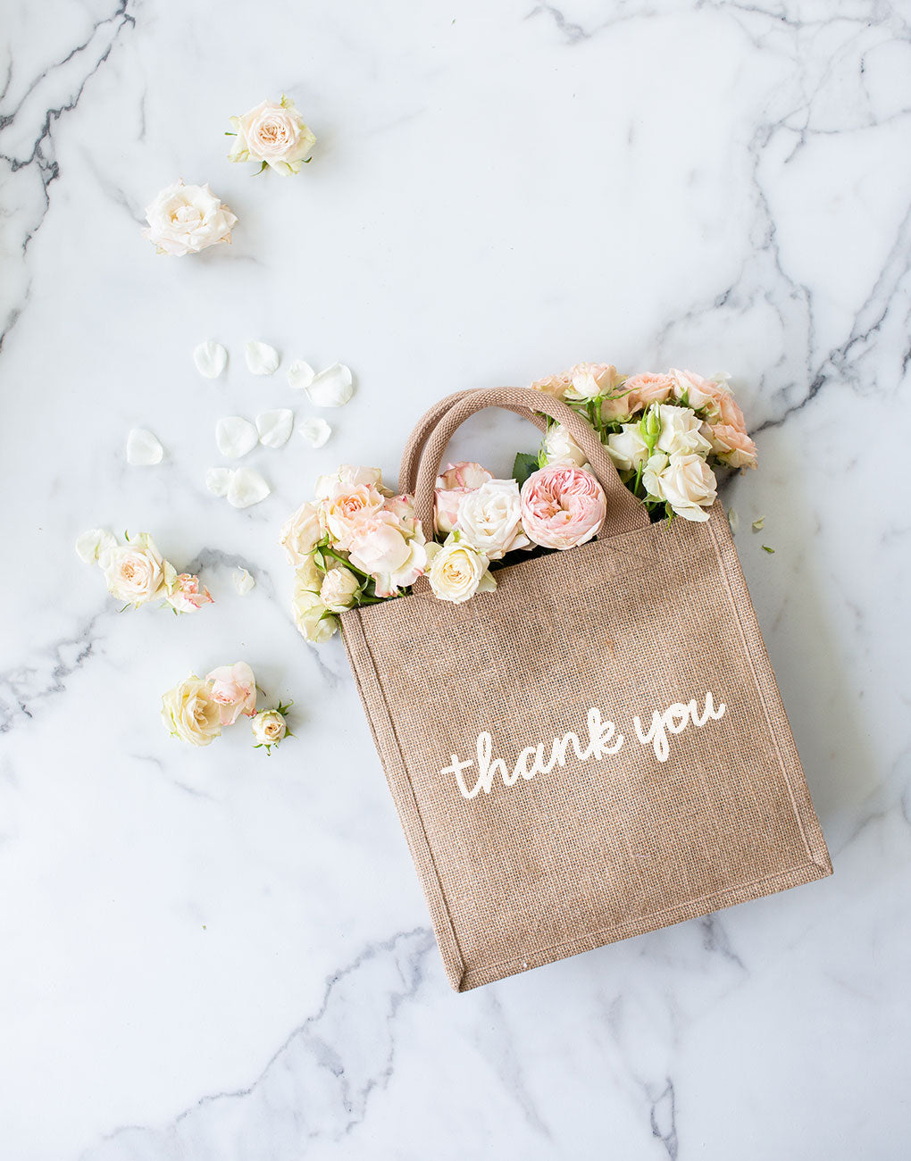 Large Thank You Reusable Gift Tote In White Font | The Little Market