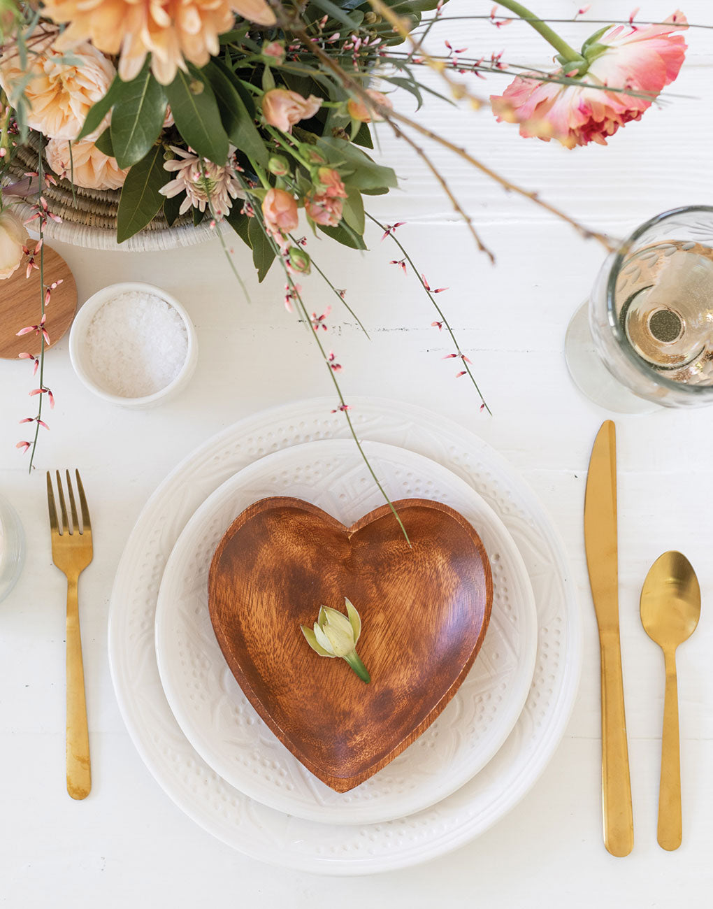 Acacia Wood Heart Tray | The Little Market