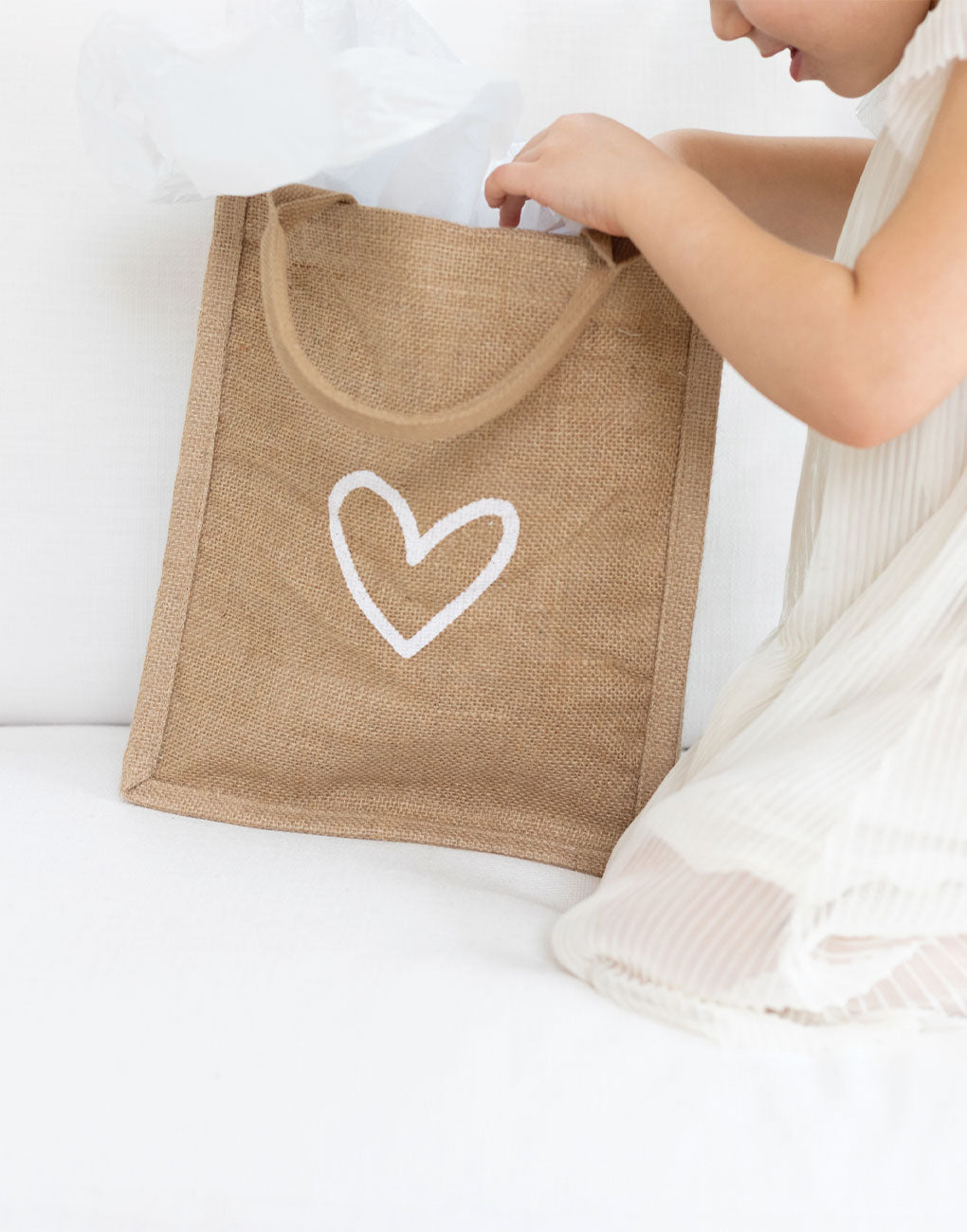 Heart Reusable Gift Tote In White Font | The Little Market