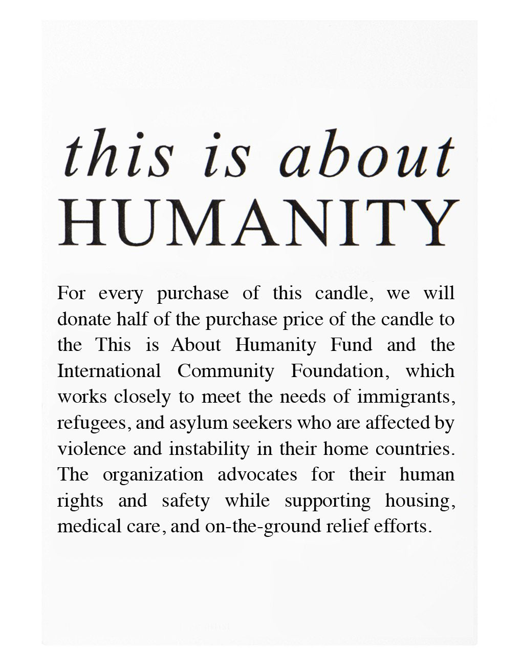 Candle Label - This is About Humanity (Black)