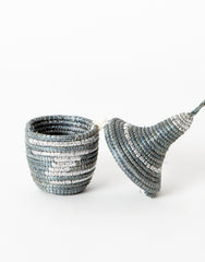 Fair Trade Hand-woven Tiny Ornament, Gray & Silver