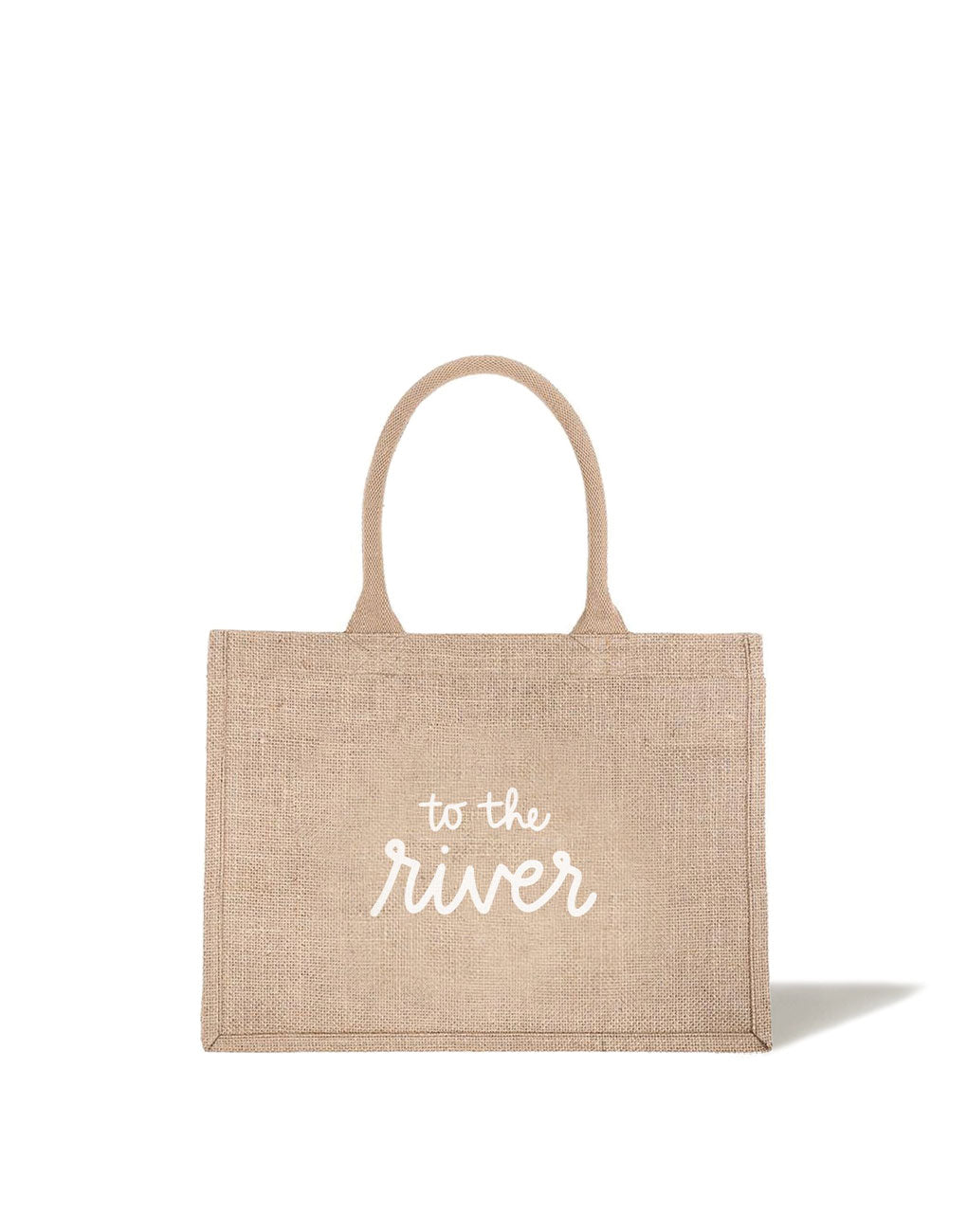 Small To The River Reusable Shopping Tote In White Font | The Little Market