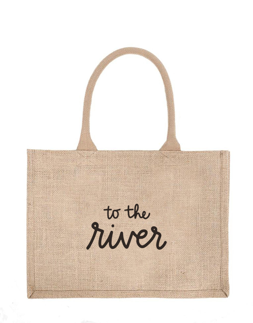 Small To The River Reusable Shopping Tote In Black Font | The Little Market