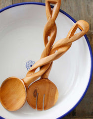Fair Trade Hand-Carved Natural Twisted Wood Salad Servers
