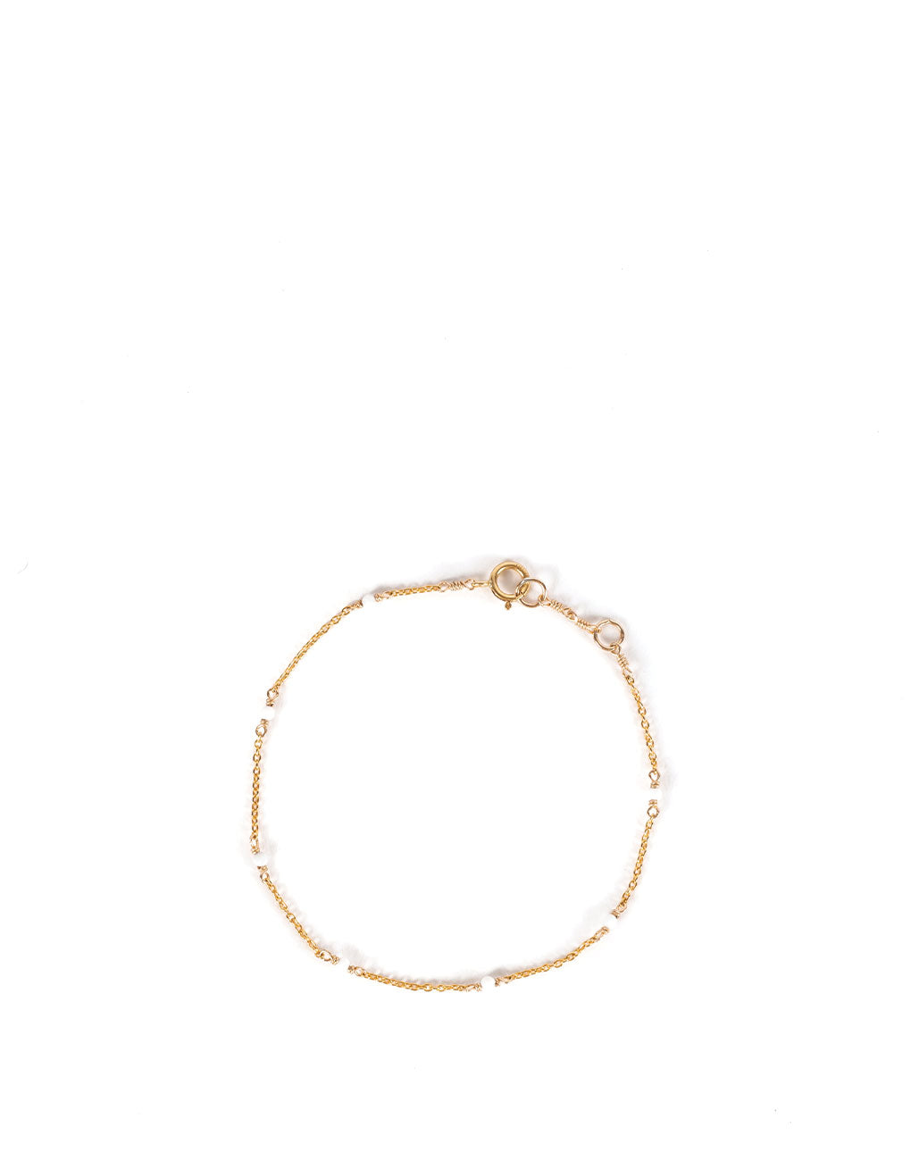 Dainty Gemstone Bracelet - White | The Little Market