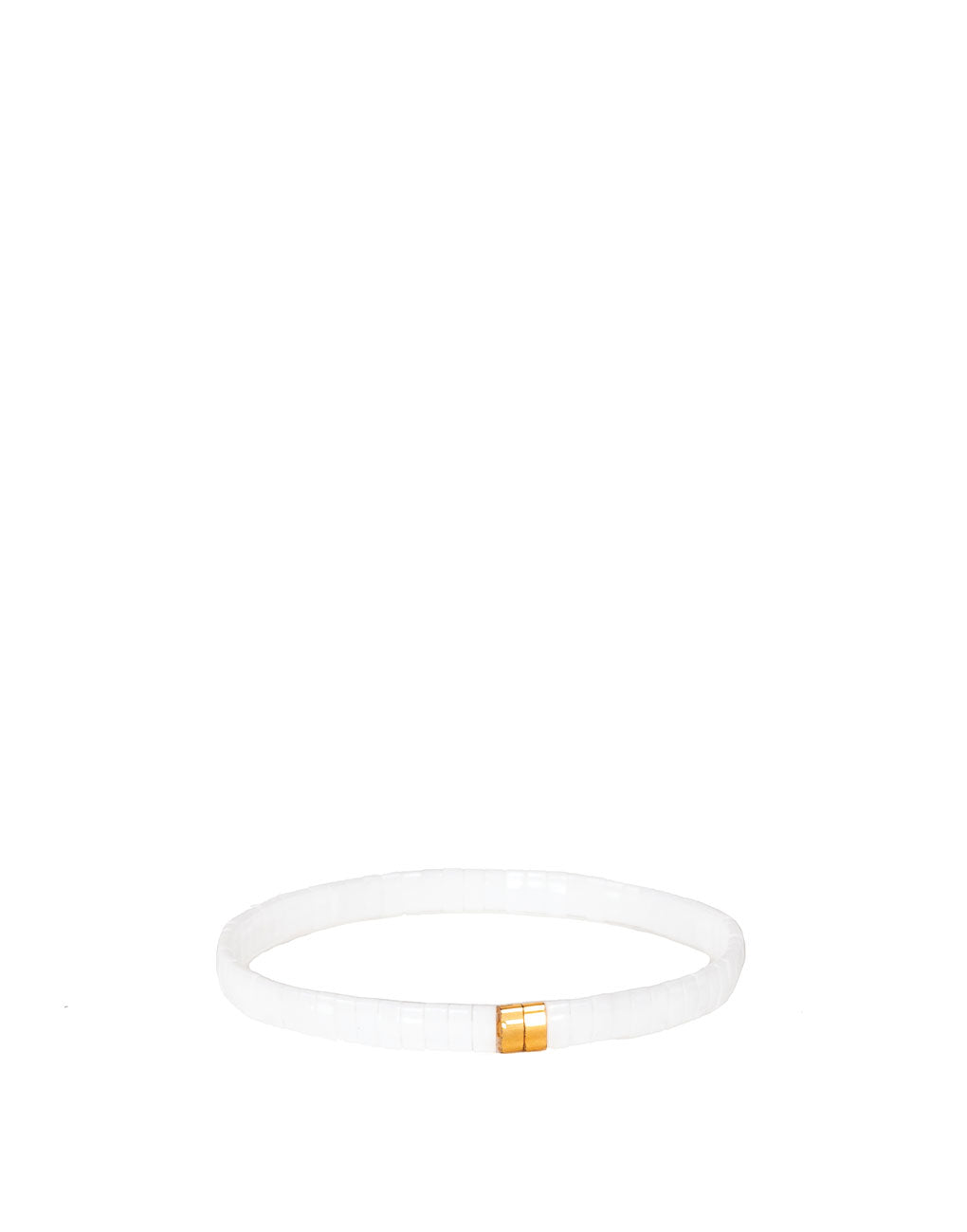 Flat Beaded Bracelet - White | The Little Market