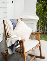 White And Navy Grid Quilt And White Pinstripe Pillow | The Little Market