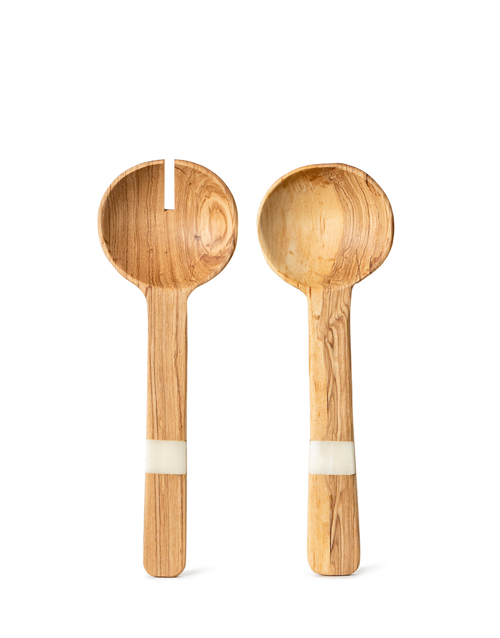 Wide Bone And Wood Notched Salad Servers | The Little Market