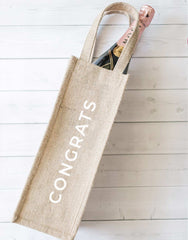 Style 2 Congrats Reusable Wine Tote In Black Font With Bottle Inside | The Little Market