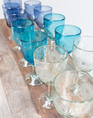 Fair Trade Hand-Etched Recycled Blue Wine Glass