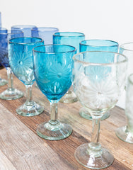 Fair Trade Hand-Etched Recycled Teal Wine Glass