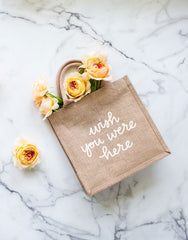 Large Wish You Were Here Reusable Gift Tote In White Font | The Little Market